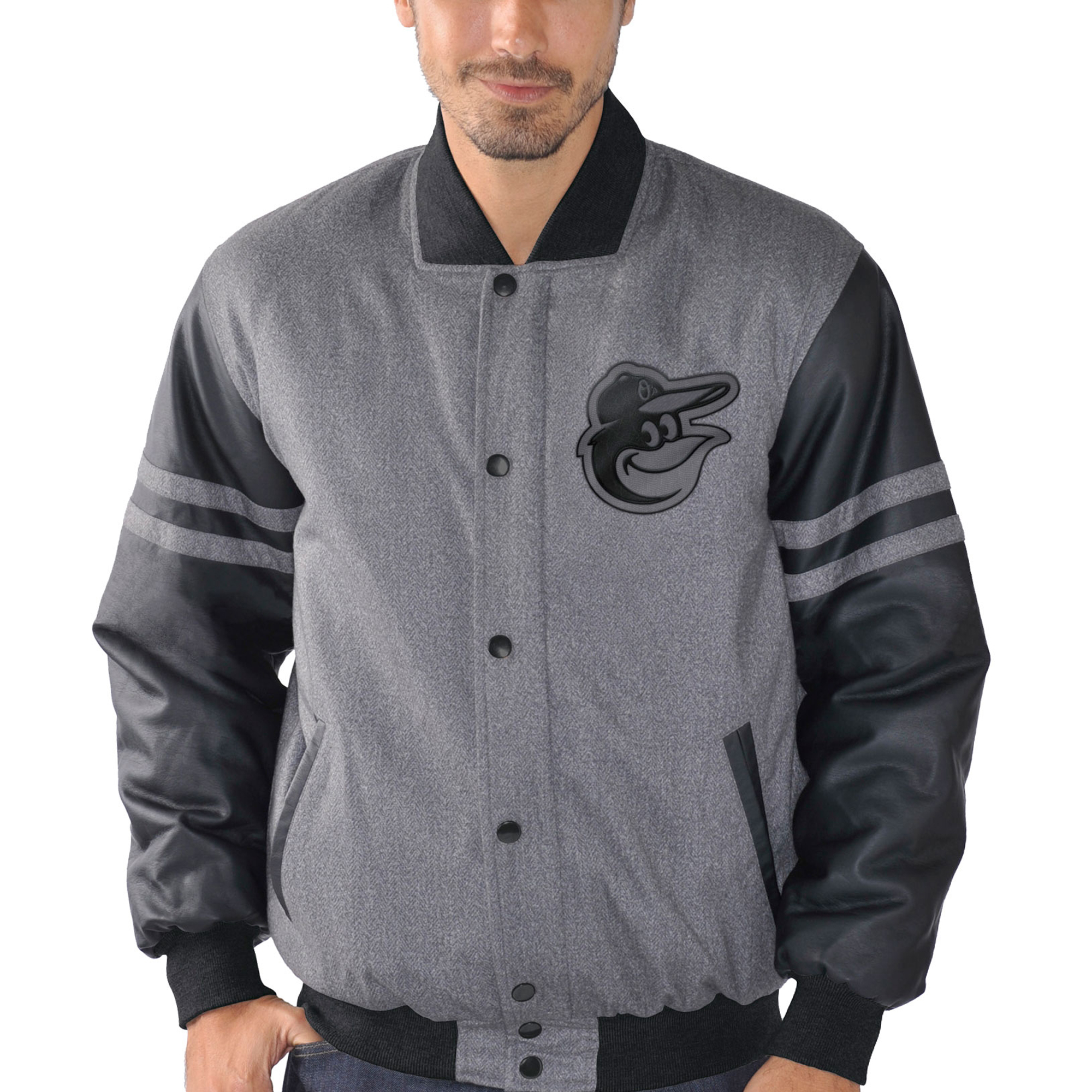 Baltimore Orioles G-III Sports by Carl Banks Post Game Varsity Jacket - Charcoal/Black