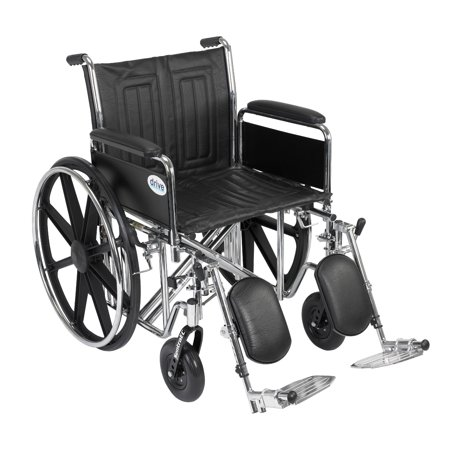 Drive Medical Sentra EC Heavy Duty Wheelchair, Detachable Full Arms, Elevating Leg Rests, 20