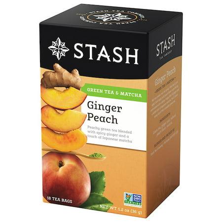 (6 Boxes) Stash Tea Ginger Peach Green with Matcha Tea, 18 Ct, 1.2 (Ginger Green Tea)