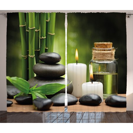 Spa Decor Curtains 2 Panels Set, Hot Massage Rocks Combined with Candles and Scents Landscape of Bamboo, Window Drapes for Living Room Bedroom, 108W X 84L Inches, Green White and Black, by Ambesonne