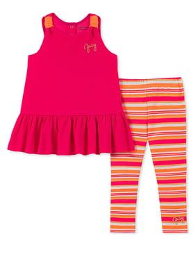 Juicy Couture Girls 2T-4T Stripe Legging Set (Fuchsia 3T)