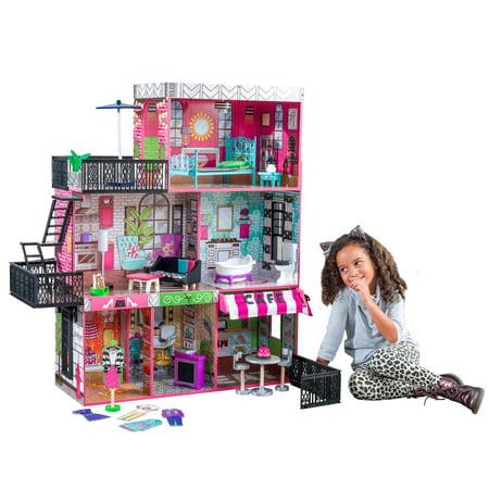 Dolls House Set (KidKraft Brooklyn's Loft Wooden Dollhouse with 25-Piece Accessory Set, Lights and)