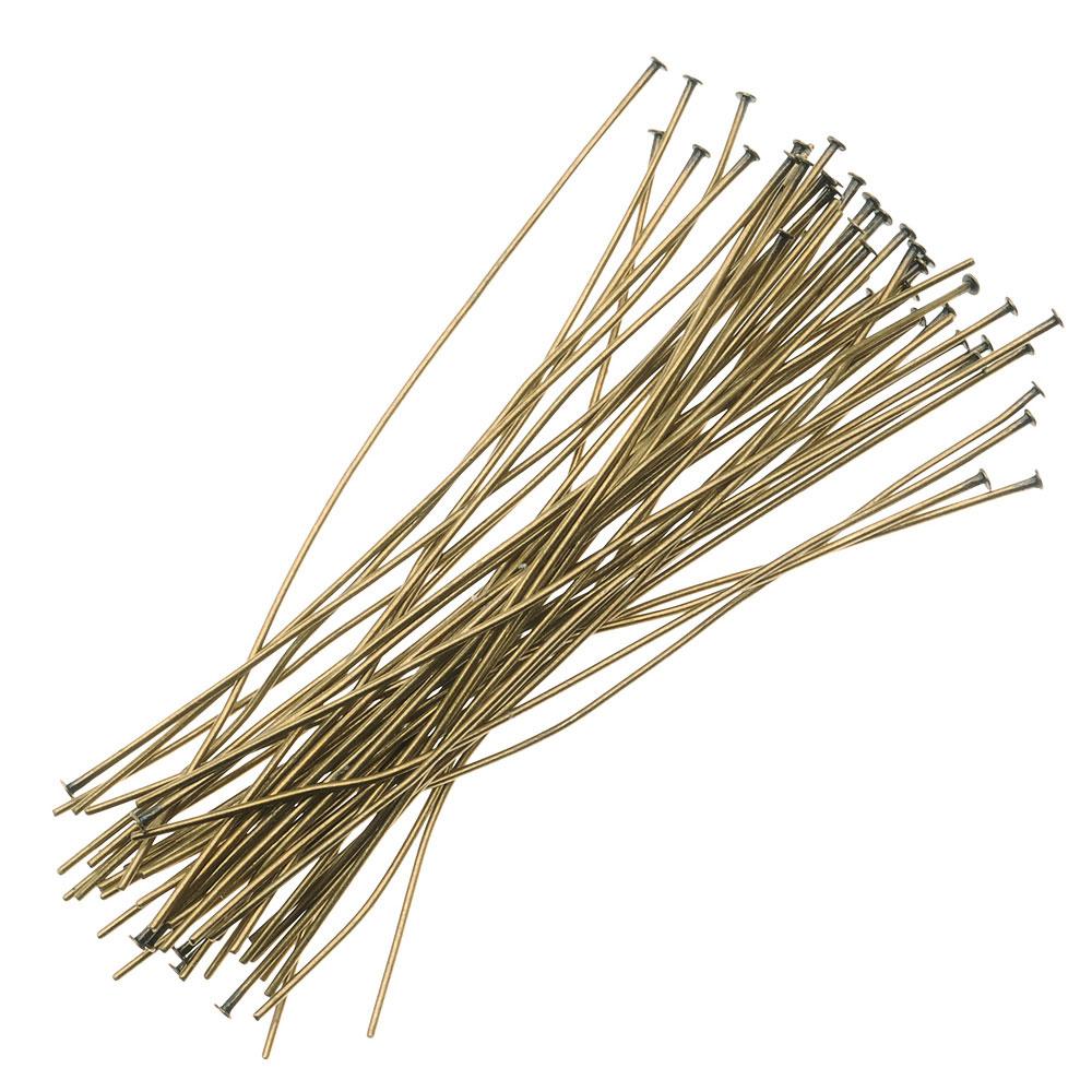 Antiqued Brass Head Pins 2 Inches 24 Gauge (X50)