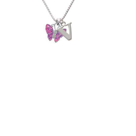 Silvertone Hot Pink & Purple Butterfly Capital Initial V Necklace