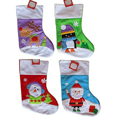 Set Of 4 Deluxe Christmas Stockings 21in- Santa, Snowman, Reindeer, & Penguin by Black Duck Brand