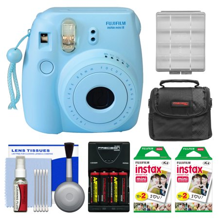 Fujifilm Instax Mini 8 Instant Film Camera (Blue) with 40 Instant Film + Case + Batteries & Charger Kit