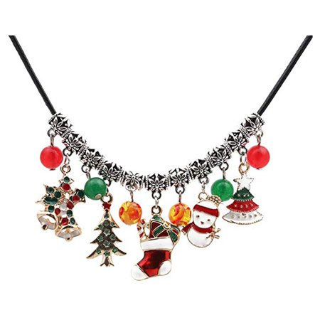Tuscom Christmas Necklace With Tree Agate Beads Snowman Boots Bell Jewelry Accessories ()