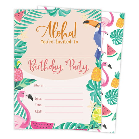 Hawaiian Aloha HI Maui Tropical Style 2 Happy Birthday Invitations Invite Cards (25 Count) With Envelopes & Seal Stickers Vinyl Boys Girls Kids Party](Halloween Party Wording Invite)