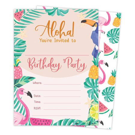 Hawaiian Aloha Hi Maui Tropical Style 2 Happy Birthday Invitations Invite Cards 25 Count With Envelopes Seal Stickers Vinyl Boys Girls Kids Party