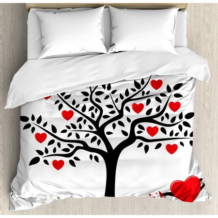 Ambesonne Valentines Day Tree with Heart Duvet Cover Set ()