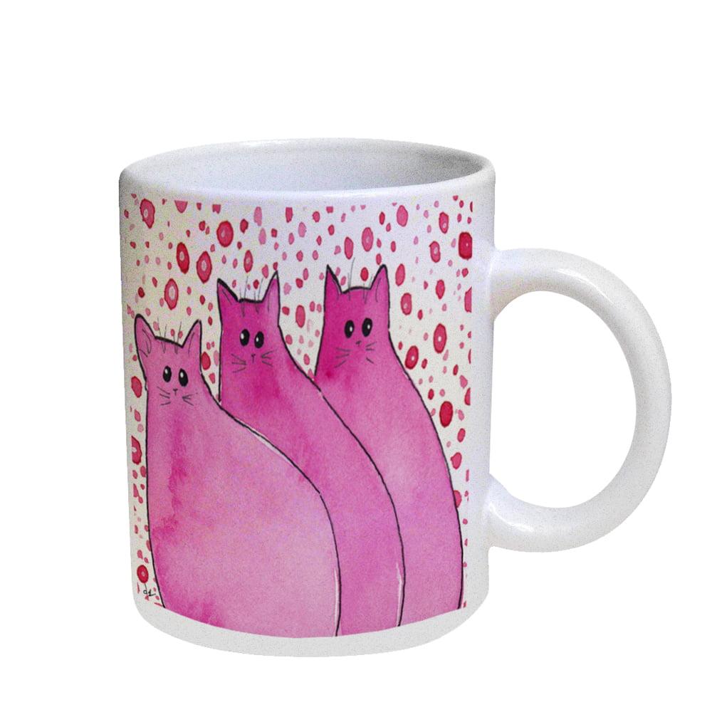 KuzmarK Coffee Cup Mug Pearl Iridescent White - Cherry Pink Chunky Kitties Abstract Cat Art by Denise Every