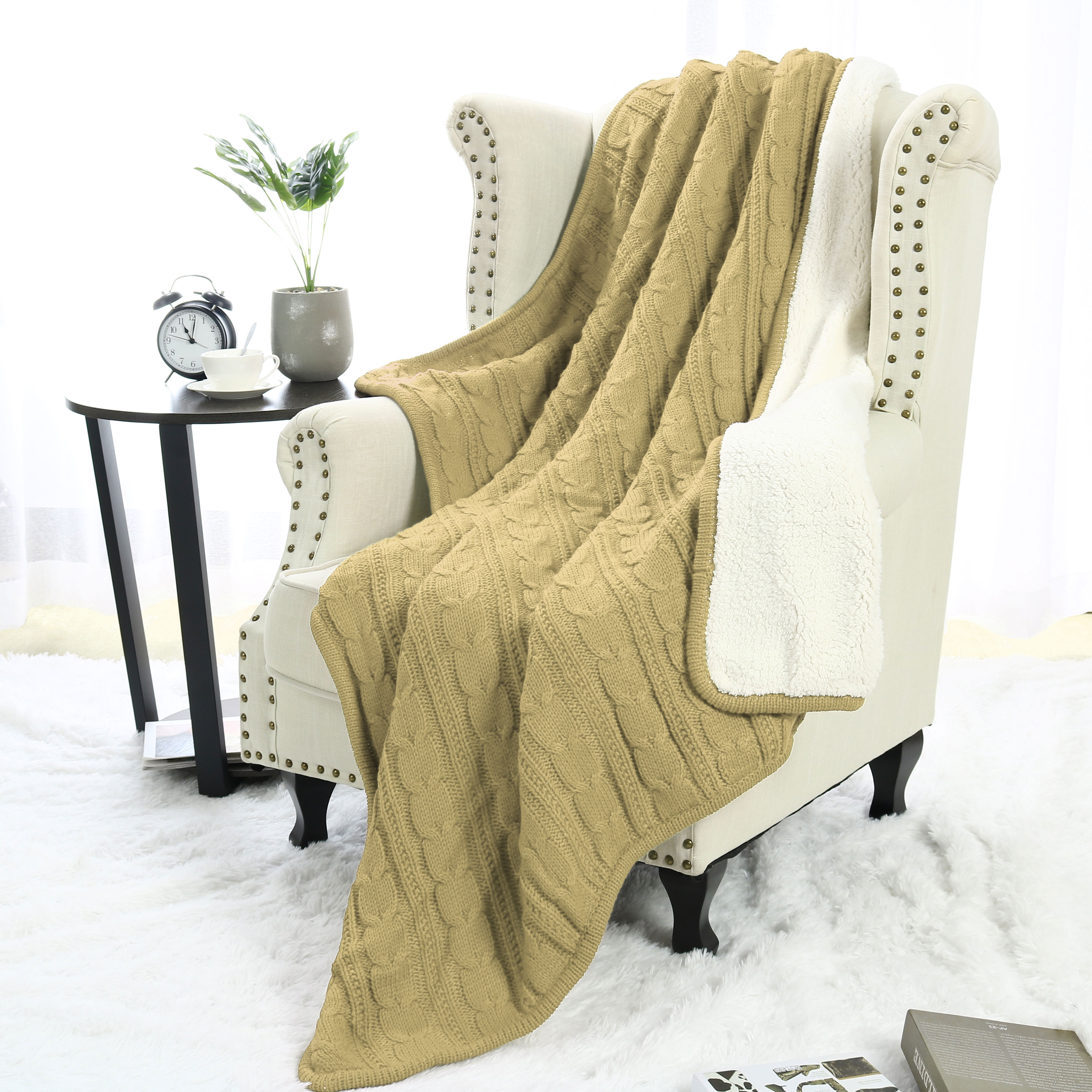Super Soft Warm Sofa Couch Bed Cable Knit Reversible Throw Blanket ,Khaki