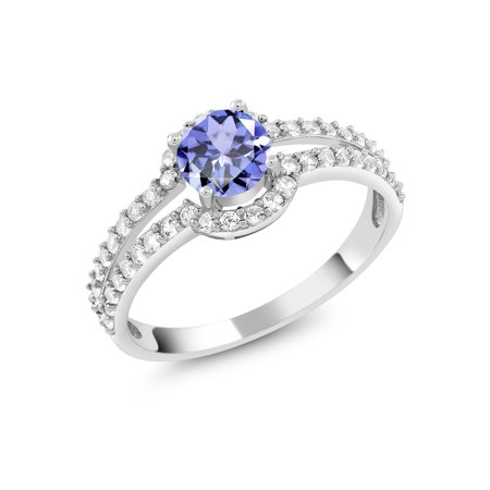 1.11 Ct Round Blue Tanzanite White Created Sapphire 925 Sterling Silver Ring