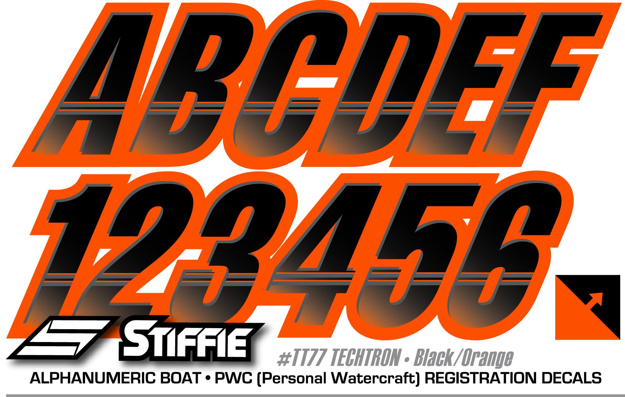 """Jetski Registration Numbers Vinyl Decal Sticker Choose a Font 3/""""x 18/"""" Set of 2"""