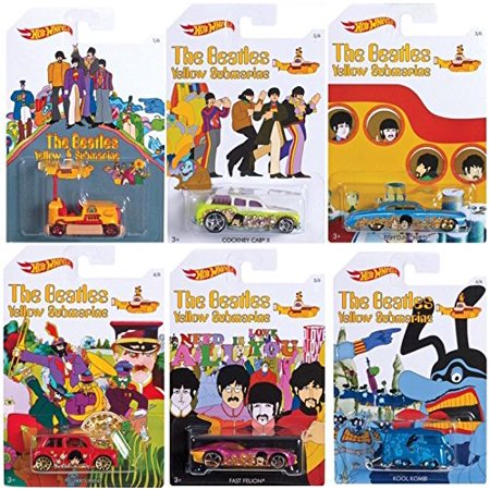 Beatles Hot Wheels Yellow Submarine New Model 2016 Complete Exclusive car set Blue Meanie Kool Kombi / Bump Around Cockney Cab / Fish'd N Chip'd - Morris Mini - Fast Felion rock band Limited (Beatles Yellow Submarine Pop Rocks Vinyl Figure Set)