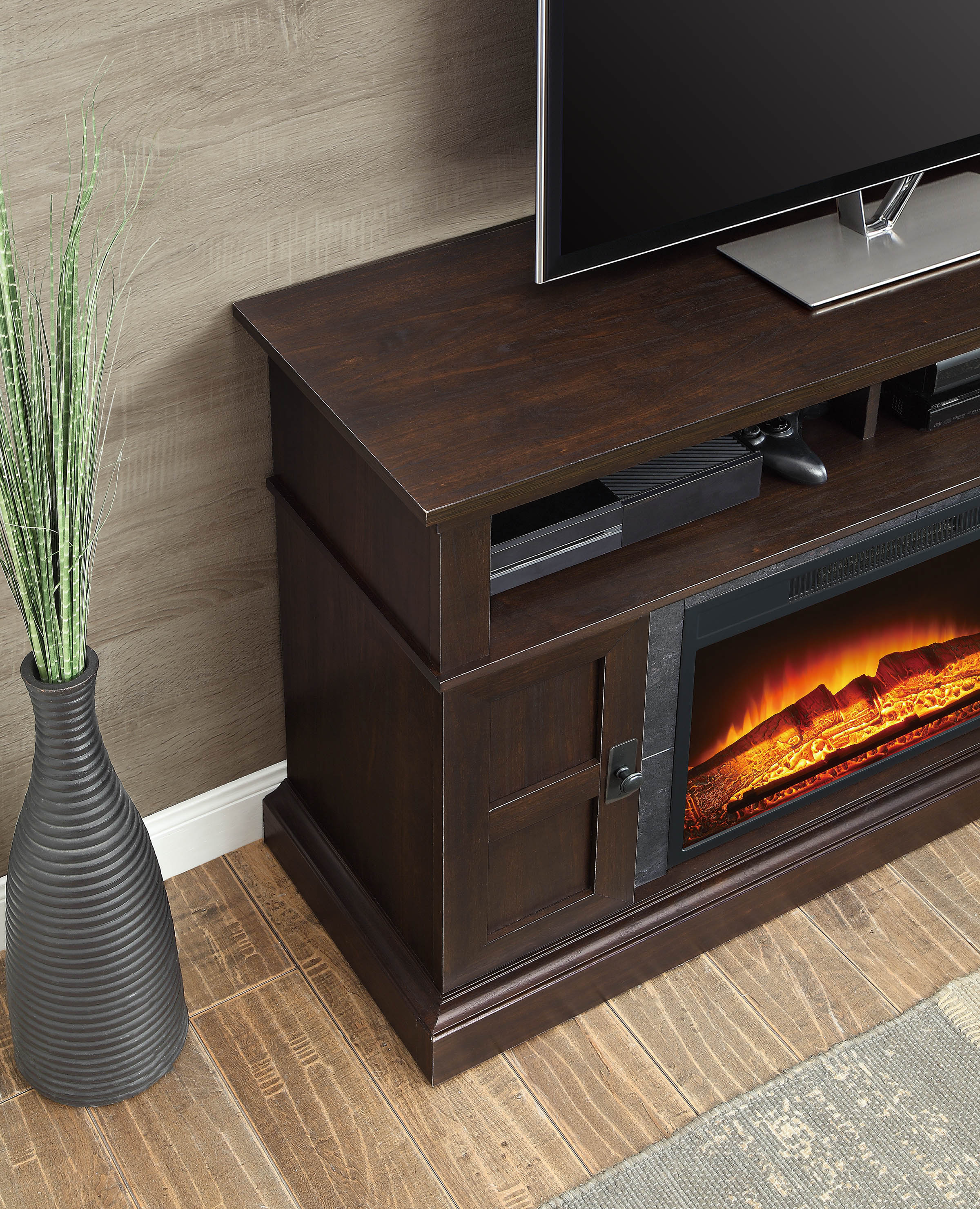 48 inch tv stand with fireplace media console electric entertainment center sale ebay. Black Bedroom Furniture Sets. Home Design Ideas