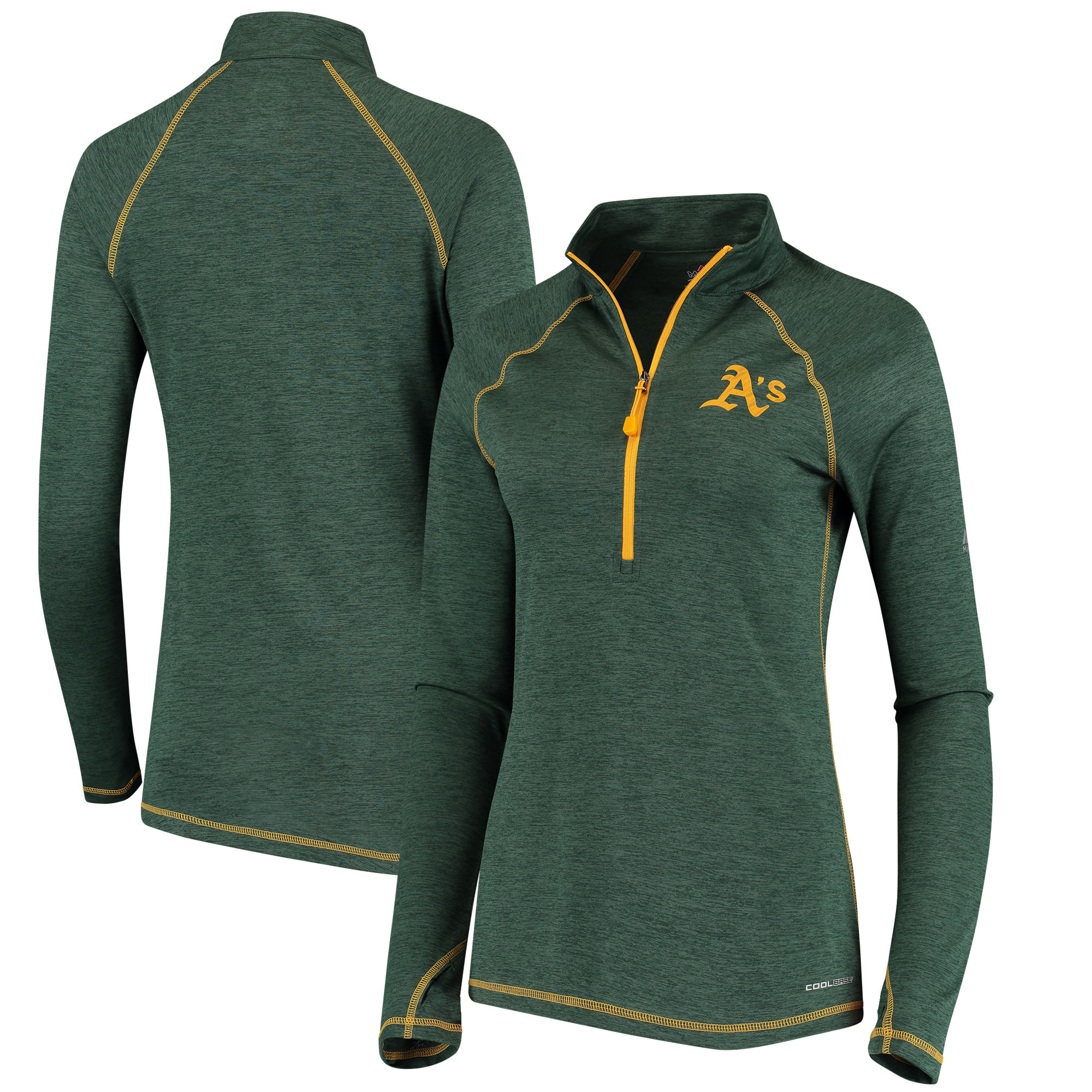 Oakland Athletics Majestic Women's Don't Stop Trying Cool Base Half-Zip Pullover Jacket Green by MAJESTIC LSG