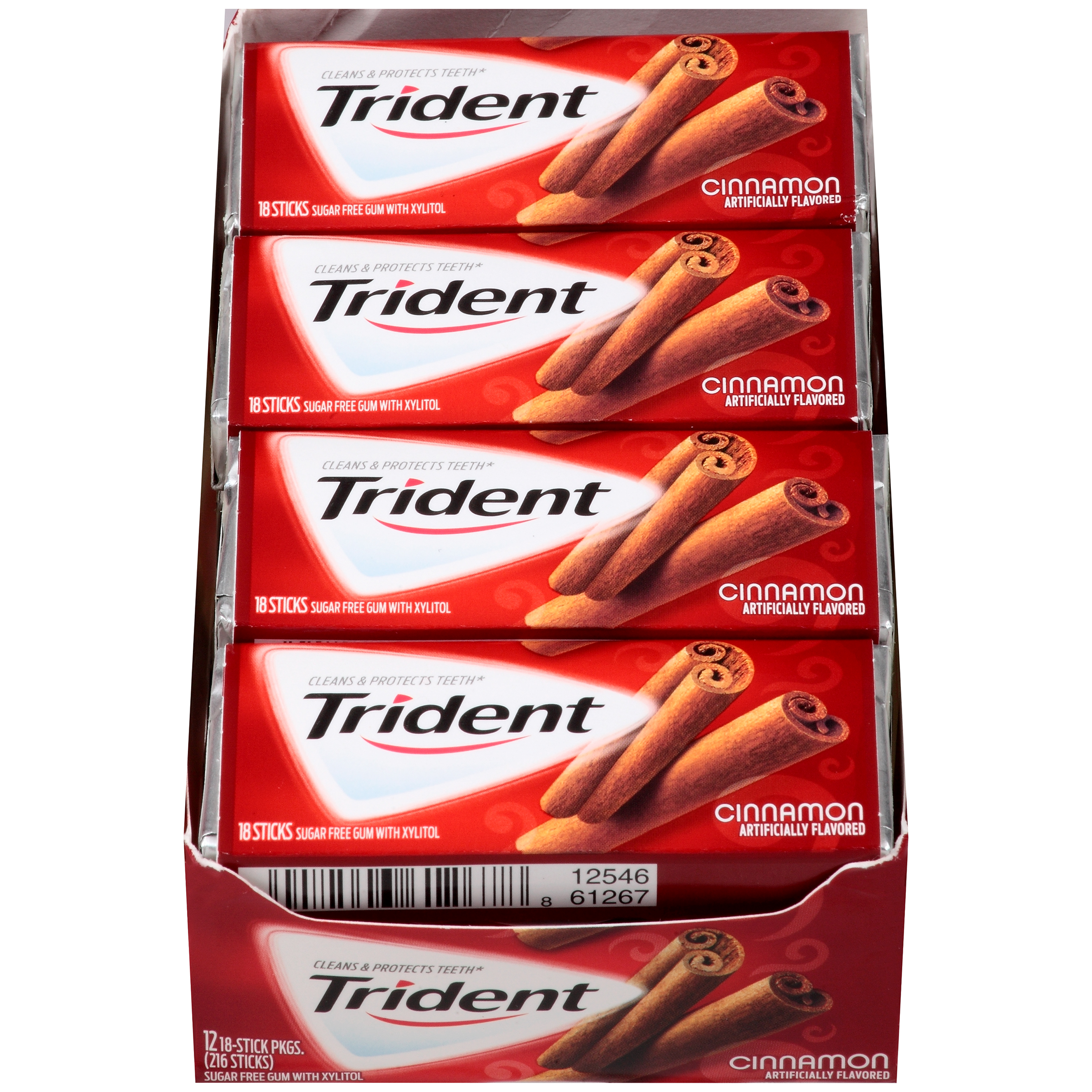Trident, Sugar Free Cinnamon Gum, 18 Pcs, (Pack of 12)