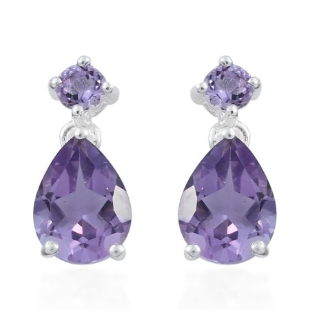 - 925 Sterling Silver Pear Amethyst Dangle Drop Earrings Gift Jewelry for Women Cttw 1.7