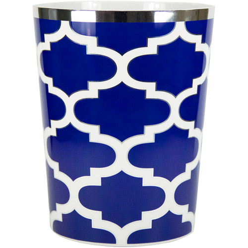Mainstays Fretwork Wastebasket, Navy/White