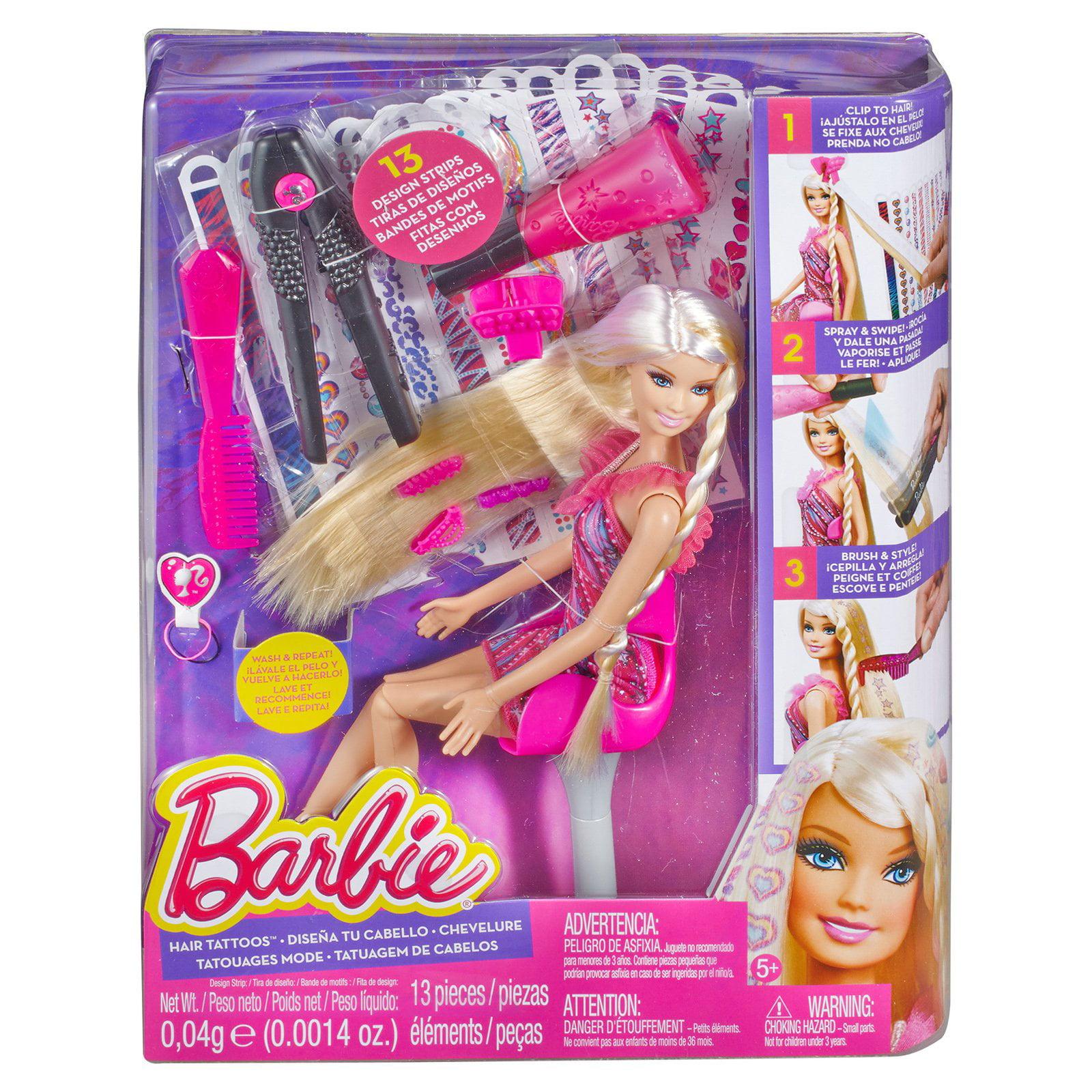 BARBIE HAIR TATTOO STYLING DOLL STUDIO BEAUTY PARLOUR SALON GIRLS TOY GIFT SET