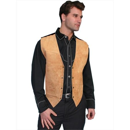 Mens Leather Wear Boar Suede Satin Back Vest, Bourbon Boar Suede -