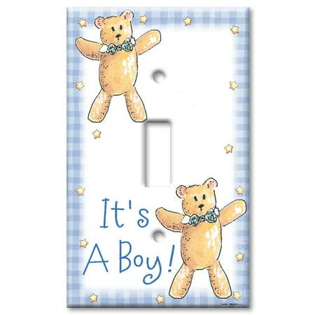 Single Gang Toggle OVERSIZE Wall Plate - It's A Boy: Teddy Bear ()