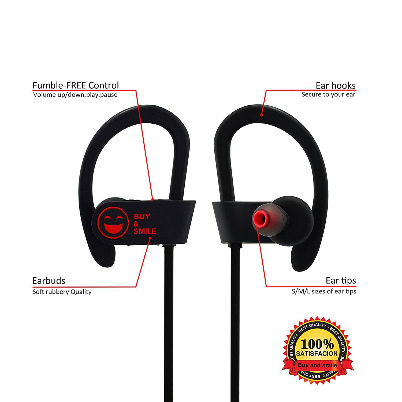 Bluetooth Headphones Wireless Buy And Smile Earphones Microphone Super Sound Stereo Earbuds Sports Headsets Running All Activities Easy Pairing All Smartphones Zippered Case Sweatproof Ipx4 Walmart Com Walmart Com