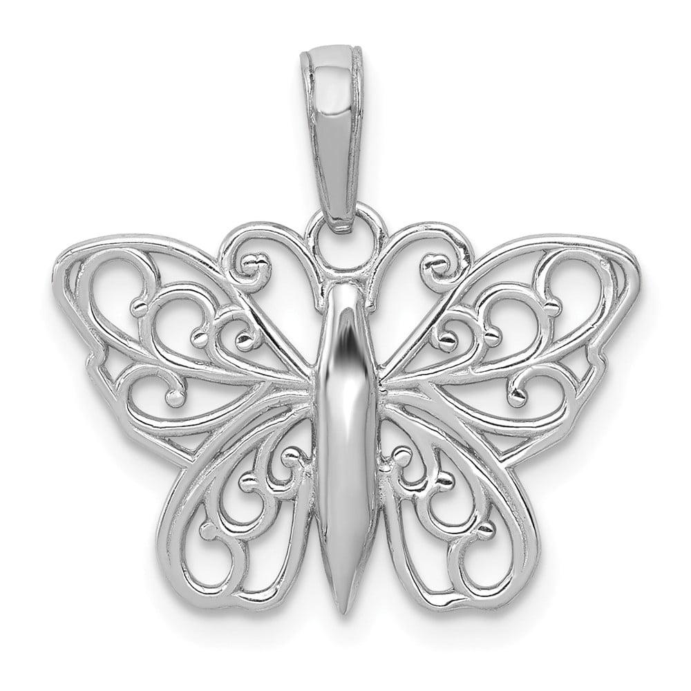 14k White Gold Satin & D/C Butterfly Pendant