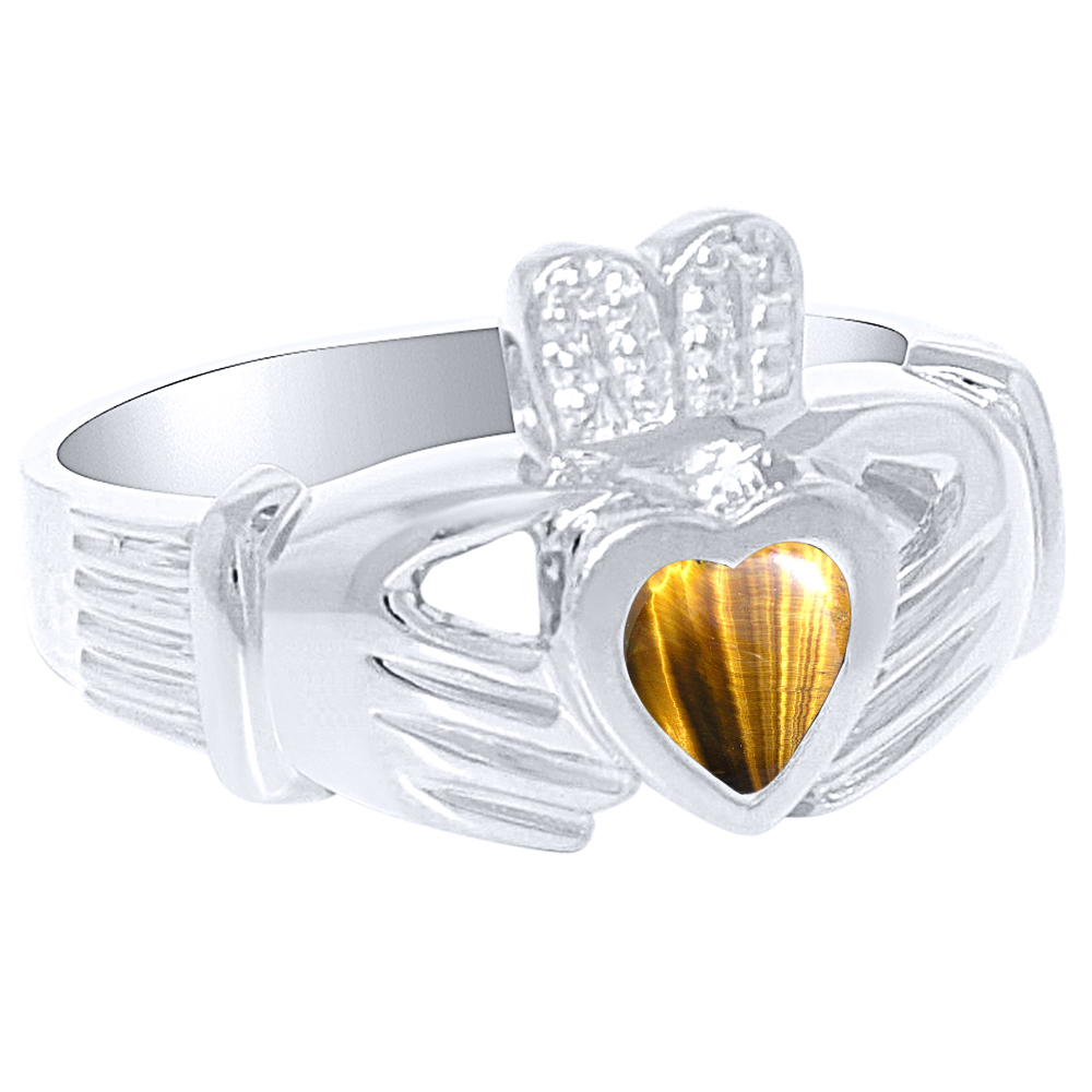Unisex His or Hers Simulated Tiger's Eye Claddah Ring Love, Loyalty & Friendship Ring 14K Yellow Gold or 14K White by Elie Int.