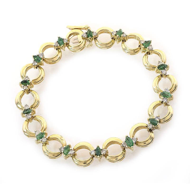 0.50 Carat Diamond and 1.50 Carat Emerald 14k Yellow Gold Link Bracelet by