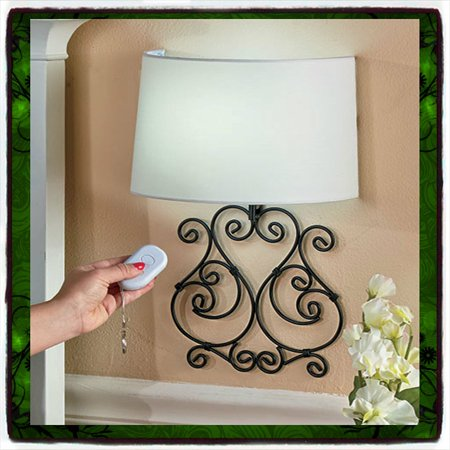 Wall Lamp Remote Controlled Scrolled Elegant Metal Led Sconce Battery Operated Light Br Shade Adjule