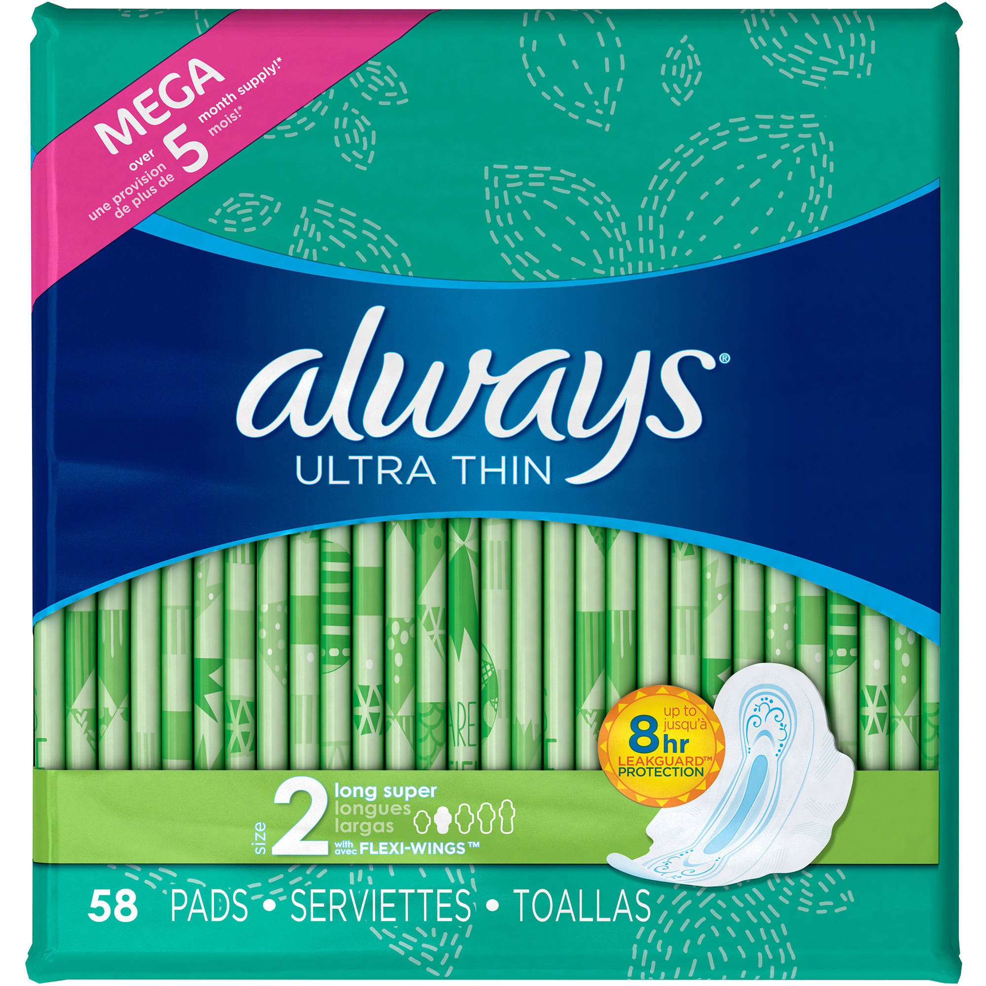 Always Ultra Thin Long Super Pads with Flexi-Wings, 58 count