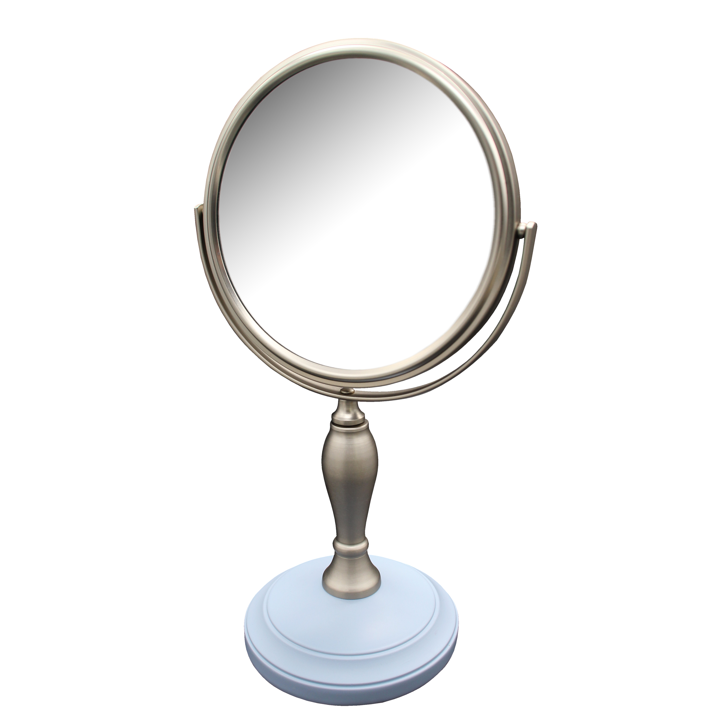 Elegant Home Fashions Fair Lady Freestanding Bath Magnifying Makeup Mirror with Frost Blue Base and Mew Pedestal