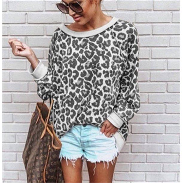 Women Ladies Fashion Leopard Print Long Sleeve