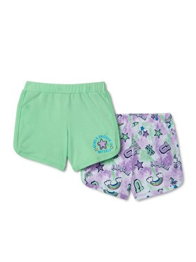 Wonder Nation Girls' Pull On Shorts, 2-Pack