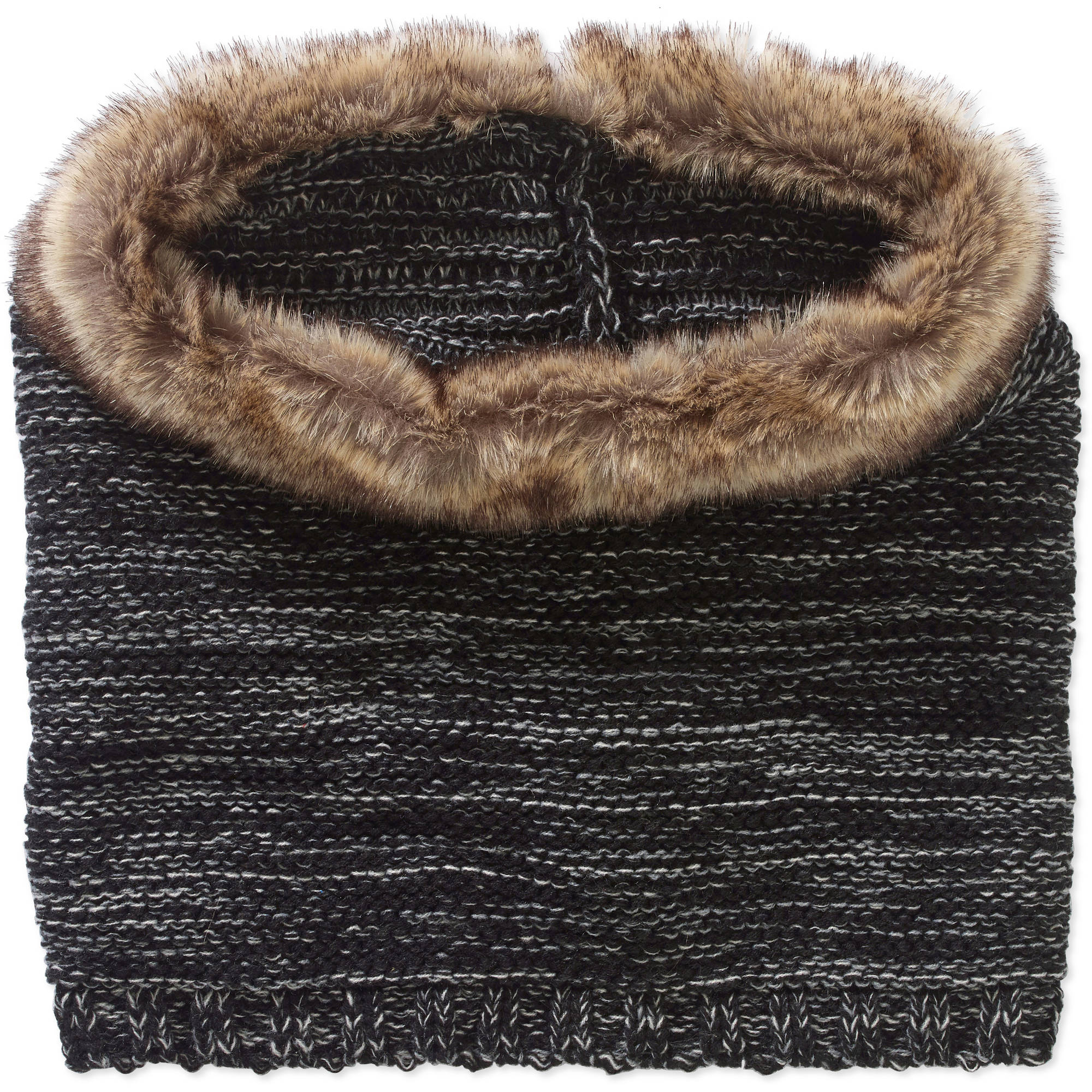 Faded Glory Women's Cold Weather Cowl Scarf with Fur