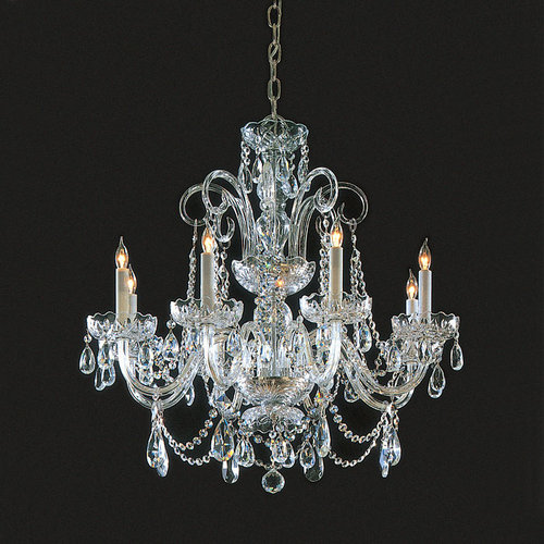 Crystorama 5006-PB-CL-SAQ Six Light Chandelier by Crystorama