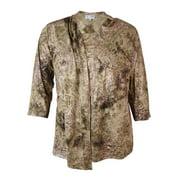 jm collection women's printed faux 2pc jersey blouse