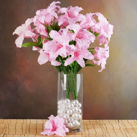 Efavormart 54 EXTRA LARGE Lilies Real Looking Artificial Lily Flowers for DIY Wedding Bouquets Centerpieces Decorations - 6 bushes