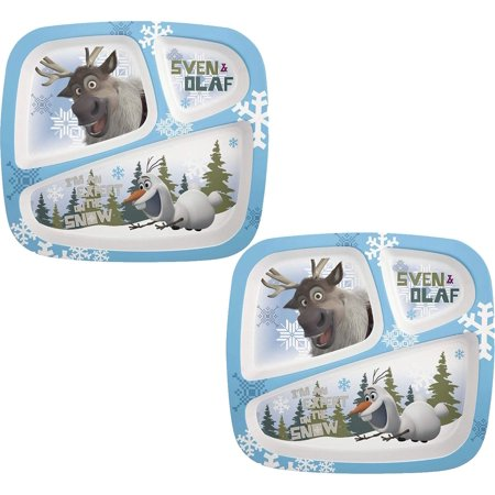 Zak! Designs 3-Section Plate featuring Olaf & Sven from Frozen (2 Pack) (Olaf Plates)