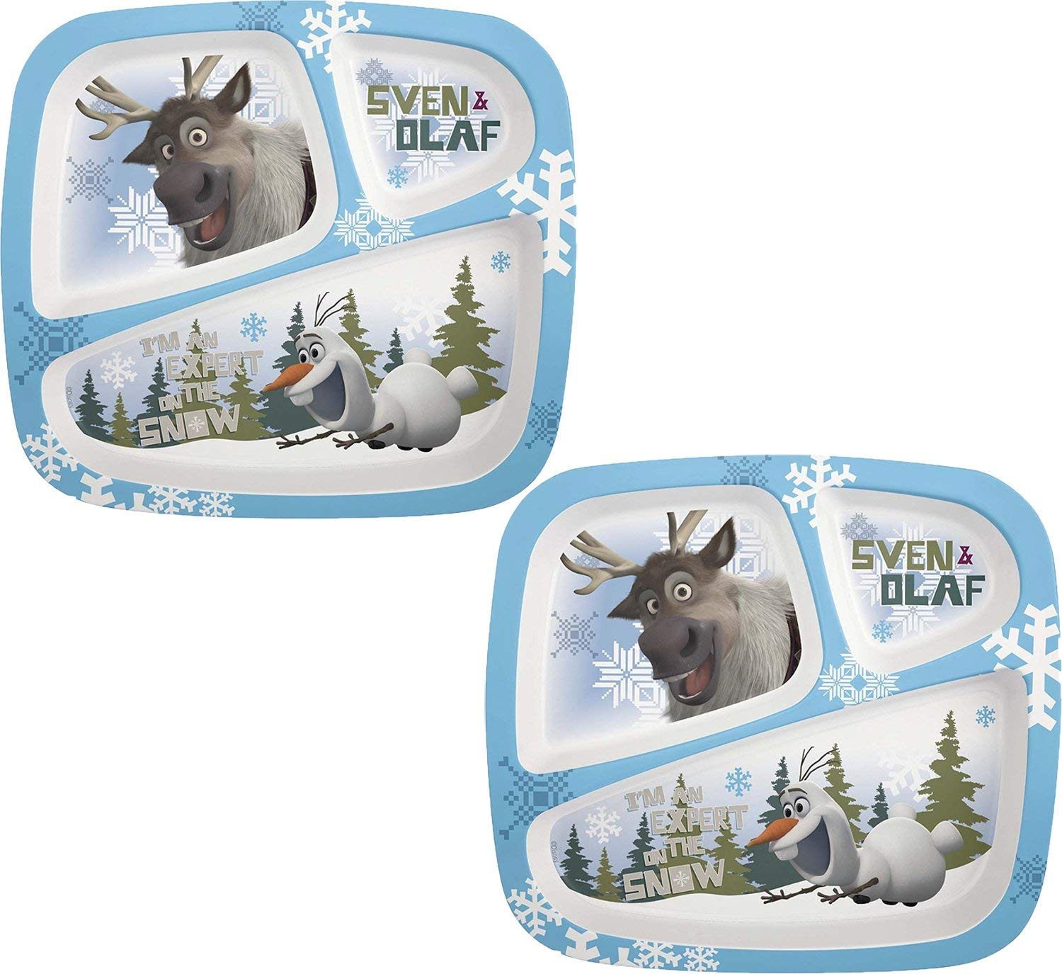Zak! Designs 3-Section Plate featuring Olaf & Sven from Frozen (2 Pack)