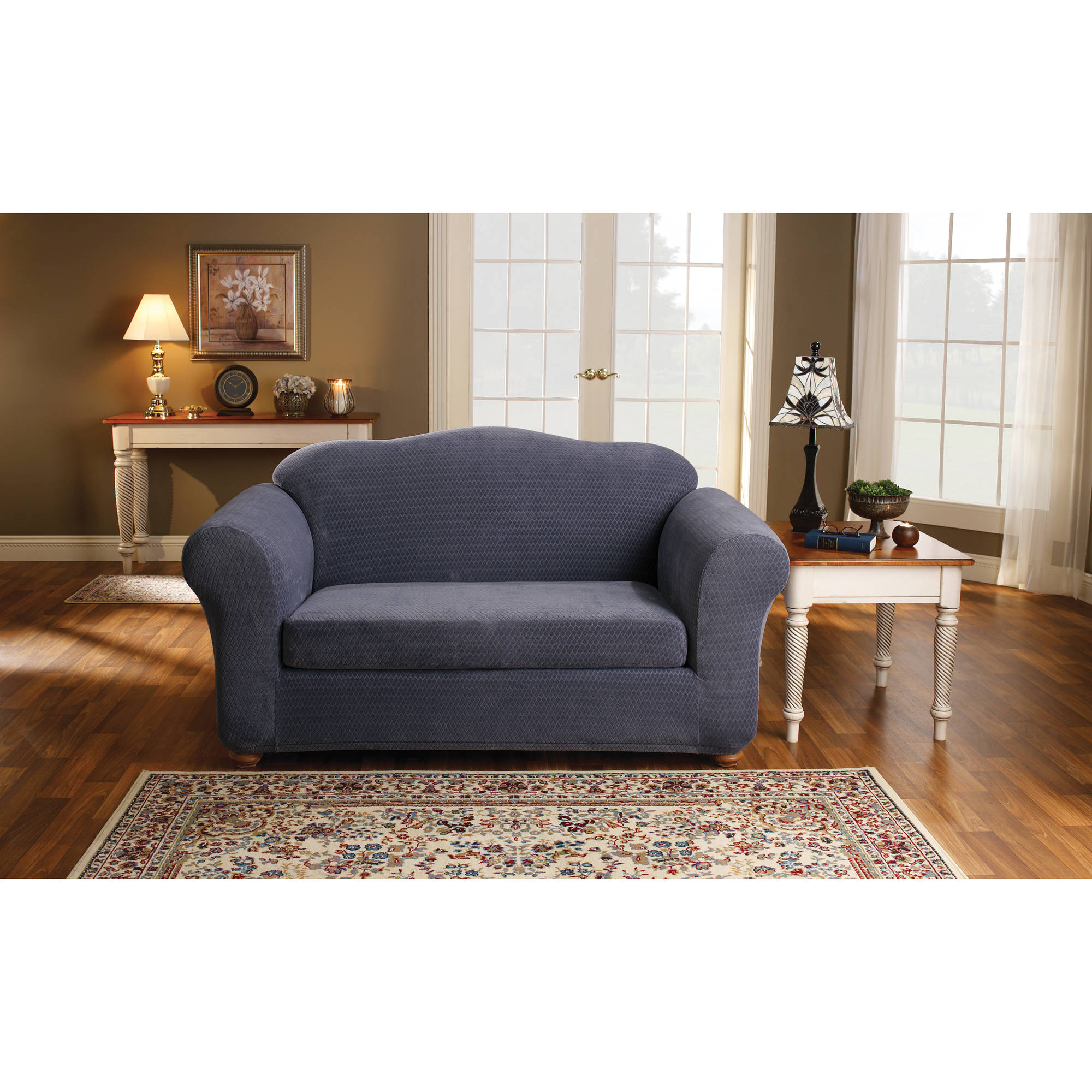 Sure Fit Stretch Royal Diamond 2-Piece Loveseat
