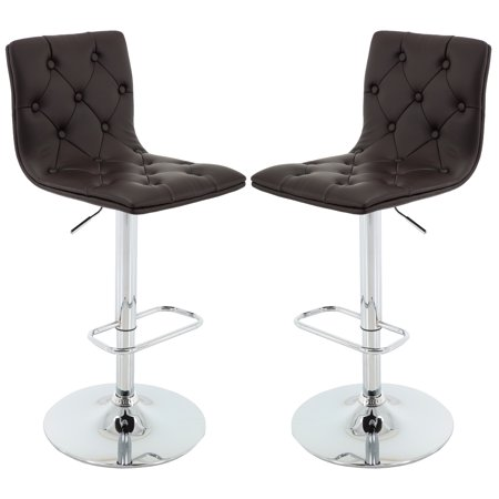 Brage Living Dark Brown Tufted PU Leather Adjustable Height Barstool with Chrome Base and Footrest Square Chrome Footrest