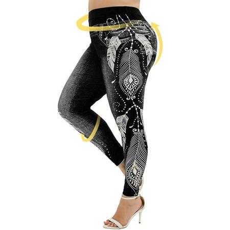 Women High Waist Imitation Denim Fake Jeans Floral Print Leggings Trousers