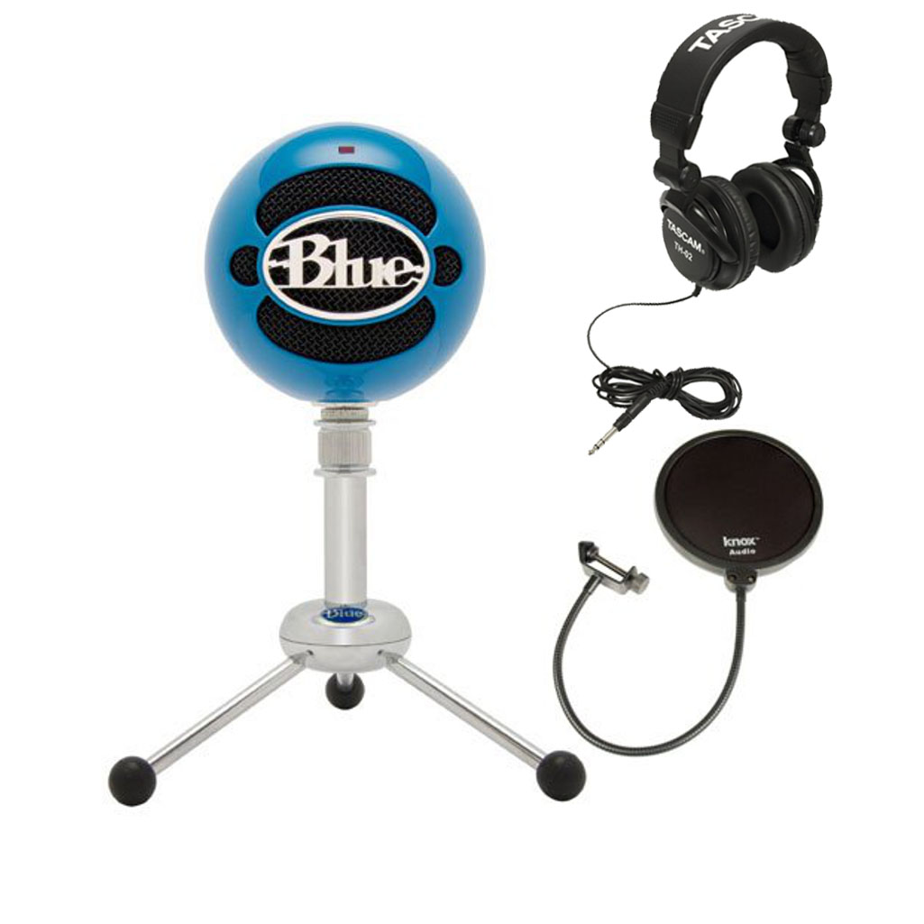 Blue Microphones Snowball USB Microphone (Blue) with Headphones and Pop Filter