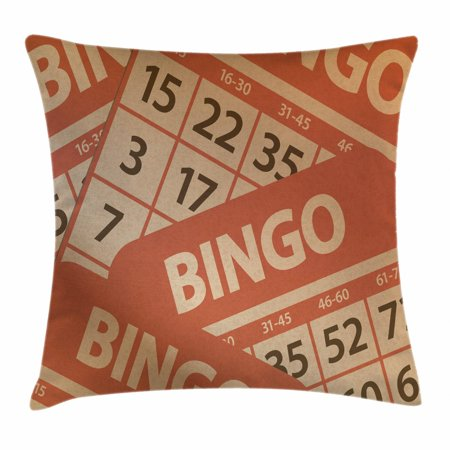 Bingo Throw Pillow Cushion Cover, Pile of Graphic Game Cards Design with Numbers Entertainment Theme, Decorative Square Accent Pillow Case, 16 X 16 Inches, Burnt Orange and Sand Brown, by Ambesonne ()