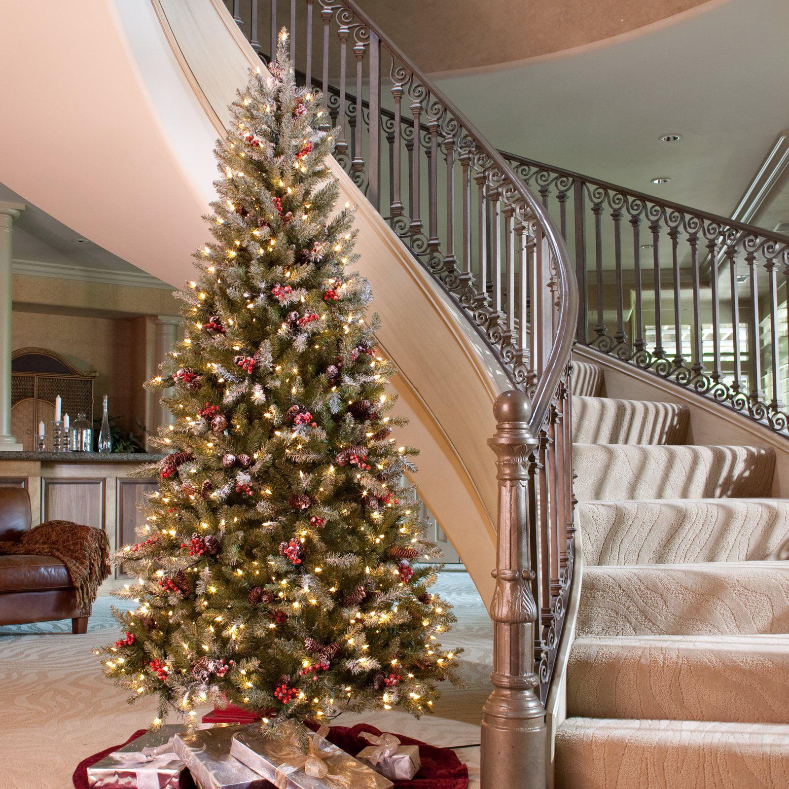 7 5 Ft Snowy Dunhill Slim Pre Lit Christmas Tree