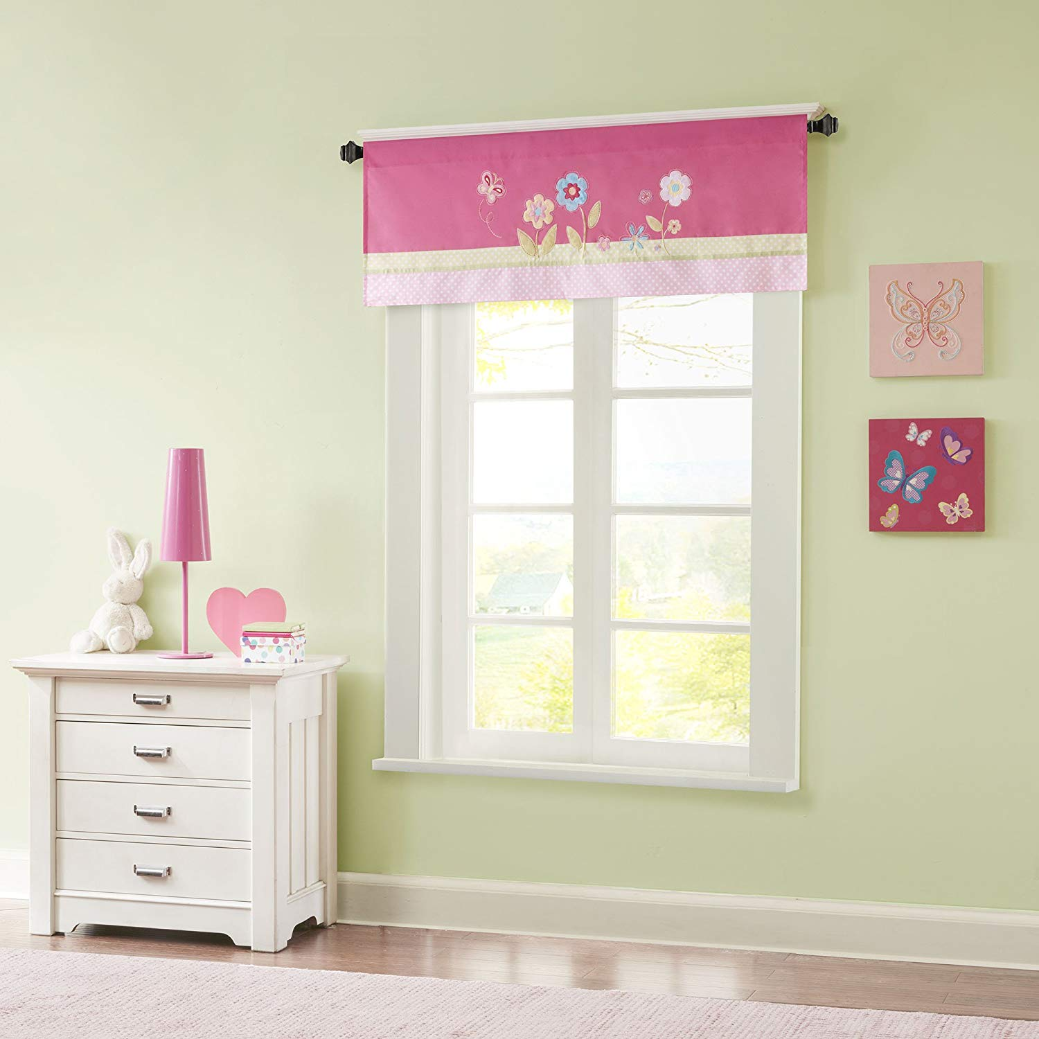 Spring Bloom Printed And Applique Embroidered Kids Valances For Windows Girls Valance For Bedroom 50x18 Pink Stop To Smell The Flowers With Our Spring By Mizone Walmart Com Walmart Com