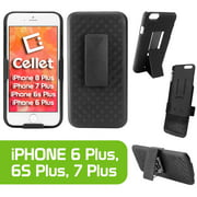Cellet Shell Holster Kickstand Case with Spring Belt Clip for Apple iPhone 8Plus, 7Plus, 6S Plus, & 6Plus
